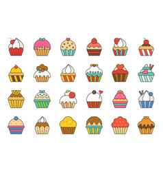 set of cupcake in various style filled outline ic vector image
