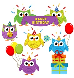 set of isolated owl birthday vector image