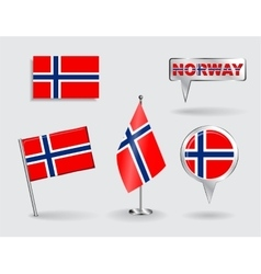 Set of PNorwegian pin icon and map pointer flags vector