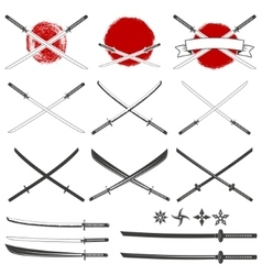 Set of the katana swords vector image