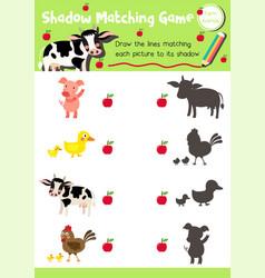 Shadow matching game farm animal vector