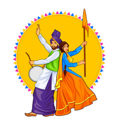 Sikh punjabi sardar couple playing dhol and vector