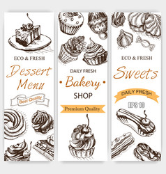Sketch bakery vintag card vector