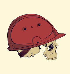 skull in a construction helmet vector image