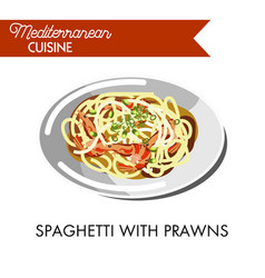 spaghetti with delicious prawns and natural herbs vector image