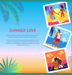 summer love poster with photos of lovely couple vector image
