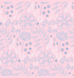 tender pastel floral pattern with flowers and herb vector image