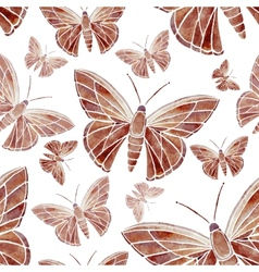 watercolor butterfly red brown pattern vector image