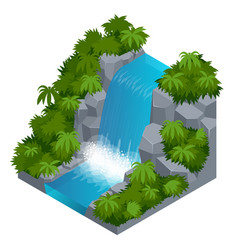 Waterfall in tropical forest build your own vector