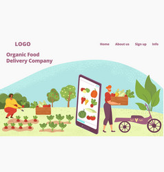 Web app for organic food delivery healthy natural vector