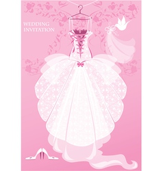 Wedding Dress shoes and bridal veil on pink backg vector