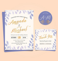 wedding invitation with vintage leaf frame vector image