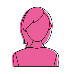 Woman avatar with loose hair icon image vector