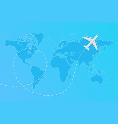 world map with flying airplane and dashed vector image