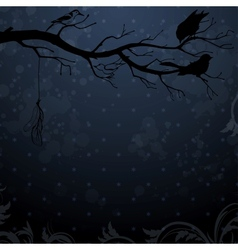 Dark winter background with tree branch and birds vector image