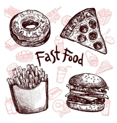 Fast food and drinks sketch set vector image vector image