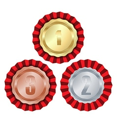 medals with gold rosette first place second place vector image