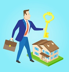 Real estate agent with a key and house model for vector image