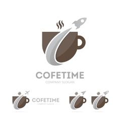 rocket and coffee logo combination vector image