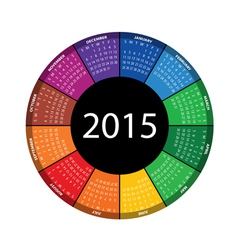 Round calendar for 2015 year vector