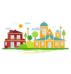 suburban houses summer urban landscape vector image