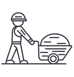 worker builder with wheelbarrow line icon vector image