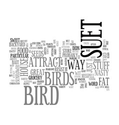 A suet way to attract birds to your yard text vector