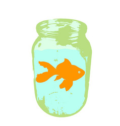 color silhouette of aquarium fish in a jar with vector image