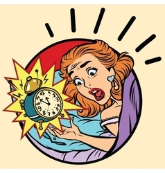Comic girl woke up from the alarm vector image vector image
