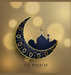 crescent moon and mosque with floral decoration vector image