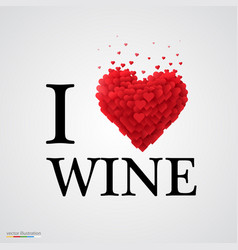 i love wine heart sign vector image