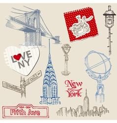 Scrapbook design elements - new york doodle set vector