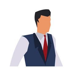 business man wearing vest tie clothes vector image
