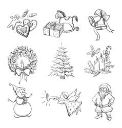 Christmas hand drawn icon set vector image vector image