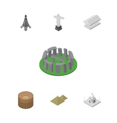 isometric cities set of athens coliseum india vector image
