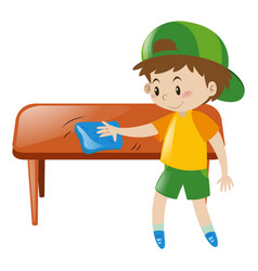 little boy cleaning table with cloth vector image vector image
