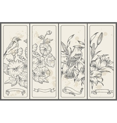 Retro Flower and Bird Banners vector image vector image