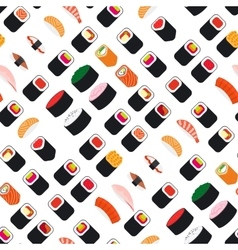 Seamless pattern with sushi vector image