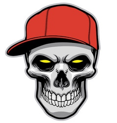 skull head wearing a hat vector image