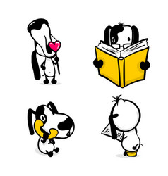cute comic dog monochrome sticker set vector image