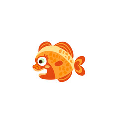 cute funny orange fish hand drawn vector image vector image
