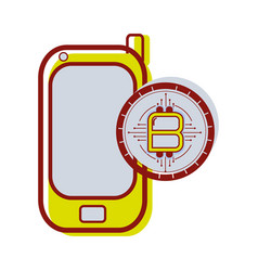 Smartphone icon with circuit bitcoin emblem vector