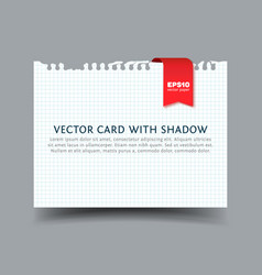 squared paper card with shadow vector image vector image