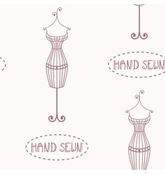 Vintage iron mannequin seamless pattern vector image