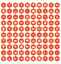 100 camping and nature icons hexagon orange vector image