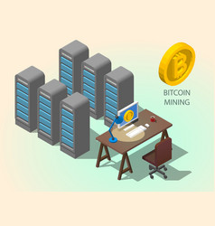 3d isometric computer online mining bitcoin vector