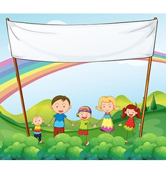 A family in the garden with an empty banner vector