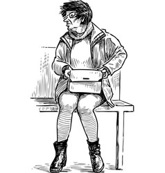 An elderly townswoman sits on a street bench vector
