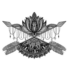 arrow crossing amulet in ethical and mandala and vector image