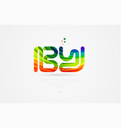 b y rainbow colored alphabet letter logo vector image
